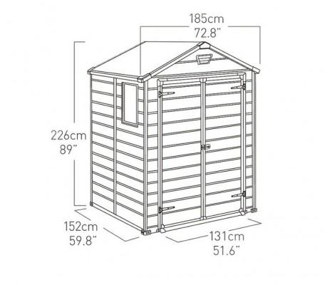Caseta de Resina KETER MANOR 6X5DD - 203521 - 185 X 152 X 226 cm